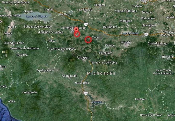 Los 32 agentes municipales citados a declarar pertenecen a Chilchota (d) y Tangancícuaro, Michoacán. (Google Maps)