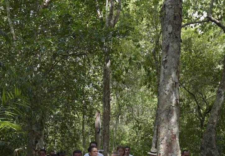 """El presidente Enrique Peña Nieto, durante un recorrido por la  """"La Antigua Ciudad Maya y los Bosques Tropicales Protegidos de Calakmul"""". (Archivo/Notimex)"""
