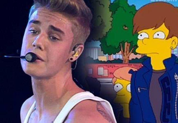 Bieber aparece en la caricatura con su mánager de la vida real, Scooter Braun. (2dayfm.com.au/Archivo)