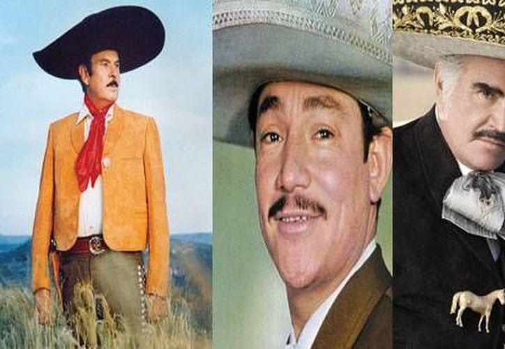 El homenaje chileno será para los mexicanos Antonio Aguilar, Javier Solís y Vicente Fernández, que aparecen de izquierda a derecha. (Agencias)