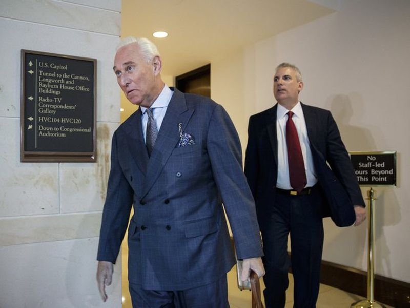 DonaldTrump associate Roger Stone arrives to testify before the House Intelligence Committee, on Capitol Hill in Washington.