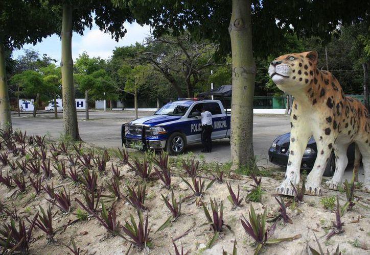 La policía municipal intensificará sus patrullajes por el complejo. (Harold Alcocer/SIPSE)