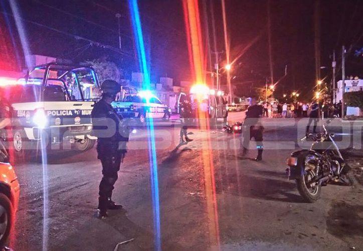 Elementos de seguridad atendieron el reporte del ataque. (Eric Galindo/SIPSE)