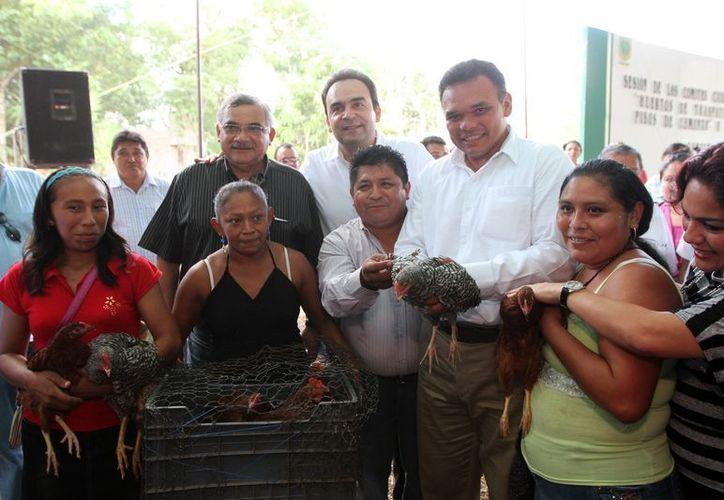 En comunidades marginadas del Estado, el Gobernador entregó aves de traspatio. (Milenio Novedades)