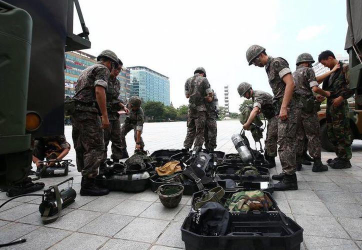 Un grupo de soldados surcoreanos de la segunda división, en una imagen de archivo. (Archivo/EFE)