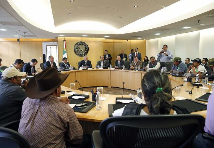 Imagen de la Junta de Coordinación Política (Jucopo) de la Cámara de Diputados con representantes de unos 80 mil jornaleros agrícolas del Valle de San Quintín, Baja California de hace unos días en la Cámara de diputados. (Notimex)