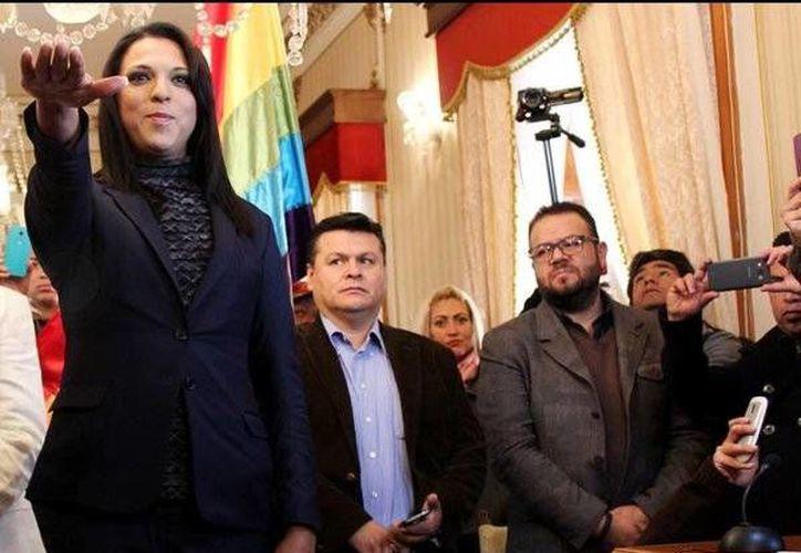 Rubí Sánchez Araujo, la primera regidora transgénero en el país, rindió protesta el jueves pasado.(twitter.com/sandra_ov)