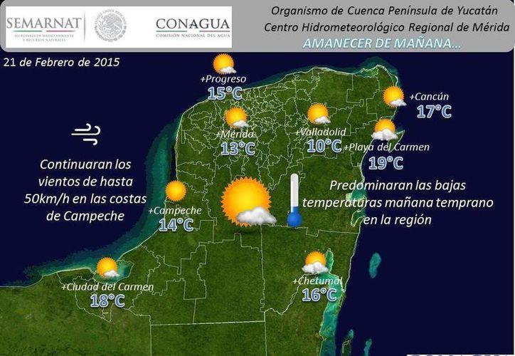 Remanentes de la masa de aire frío que dio impulso al sistema frontal 36 se mantienen sobre la Península de Yucatán. (Conagua)