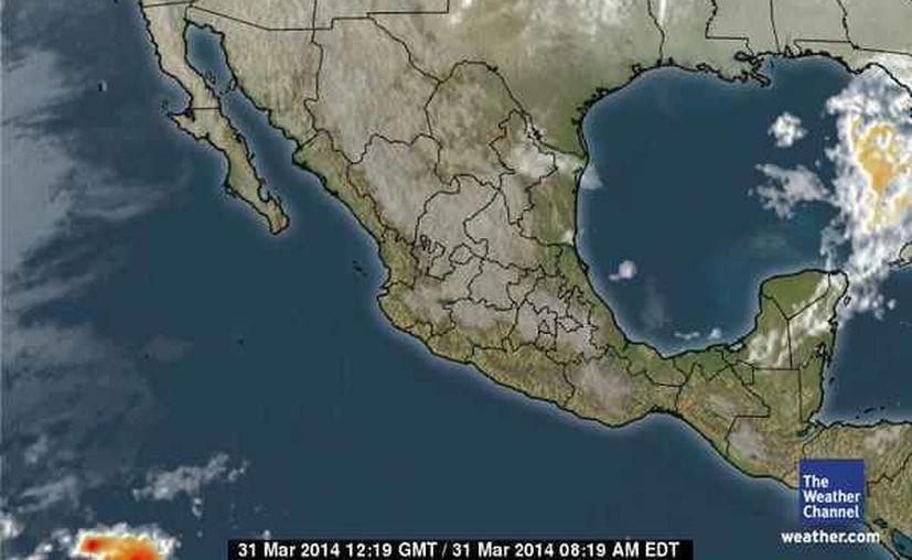Continúa la entrada de aire marítimo tropical con poco contenido de humedad procedente del mar Caribe hacia la Península de Yucatán. (espanol.weather.com)