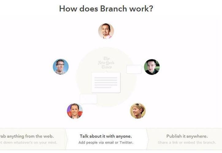 Con la compra de Branch, Facebook busca ganar terreno en las conversaciones de usuarios en internet, sector que actualmente domina Twitter. (branch.com)
