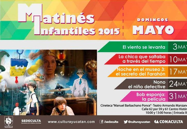 Cartel de las películas que se exhibirán en las matinés de mayo en la cineteca 'Manuel Barbachano Ponce' del teatro 'Armando Manzanero' de Mérida. (Sedeculta)