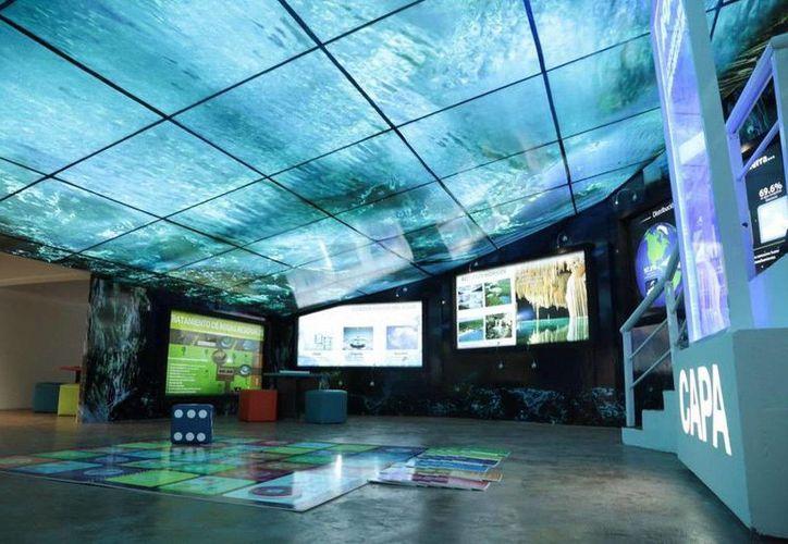 La Sala Didáctica del Agua tiene un diseño visual relacionado con el recurso hídrico. (Redacción/SIPSE)
