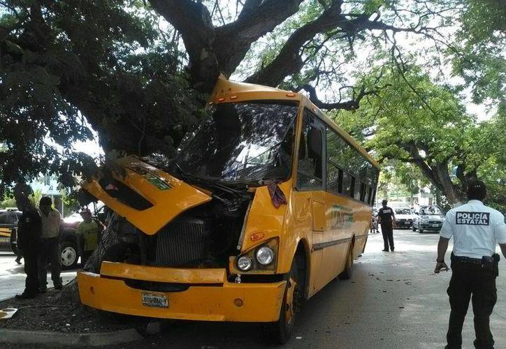 El aparatoso incidente se registró sobre la calle 60, hasta donde llegaron una patrulla y una ambulancia. (Jorge Acosta/Milenio Novedades)