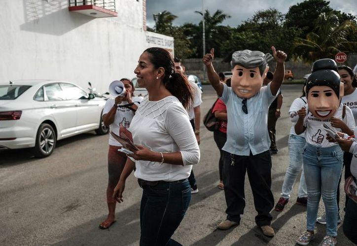 'Si vamos con una ventaja importante pero en política siempre hay que hacer las cosas bien y seguir trabajando sin bajar la guardia', Marybel Villegas, candidata al Senado. (SIPSE)