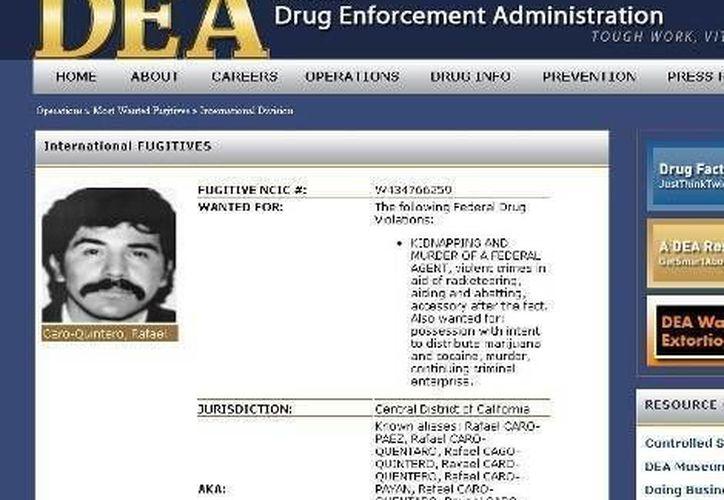 Página de internet de la DEA sobre el narcotraficante Rafael Caro Quintero. (Agencias/Archivo)