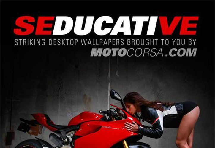 La hermosa modelo Kylie Shea en la publicidad original. (motocorsa.com)