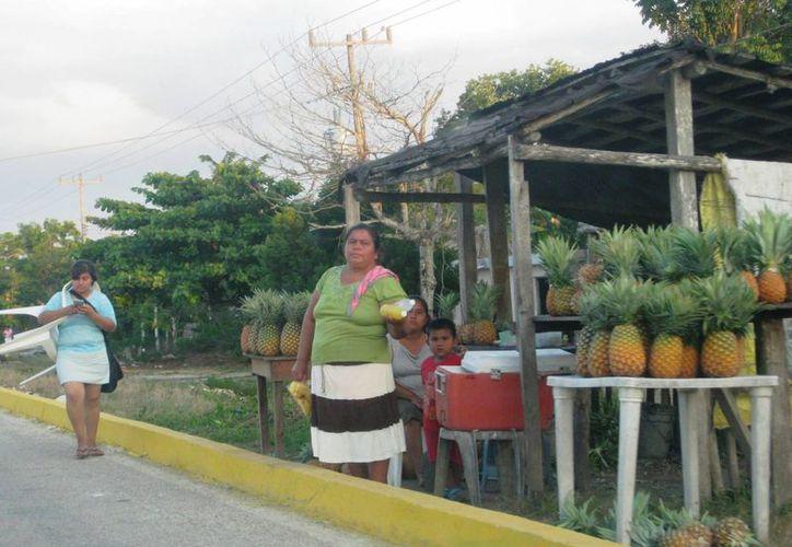 Los productores tienen problemas para vender en la carretera. (Javier Ortiz/SIPSE)