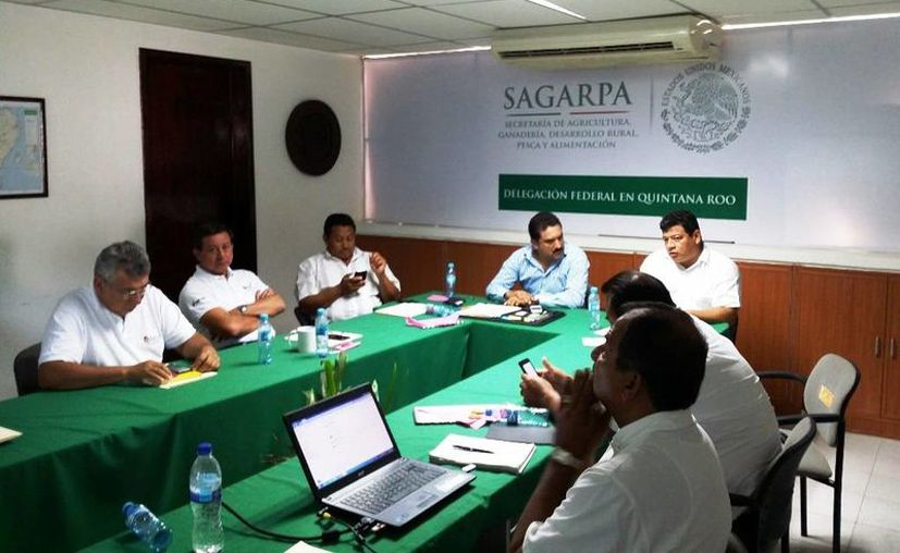 Funcionarios de la Sagarpa en esta capital, durante la reunión con productores cañeros para informar sobre los apoyos al sector. (Edgardo Rodríguez/SIPSE)