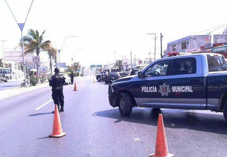 El dispositivo policíaco se instaló ayer sobre la avenida Las Torres, a la altura del fraccionamiento La Selva. (Eric Galindo/SIPSE)