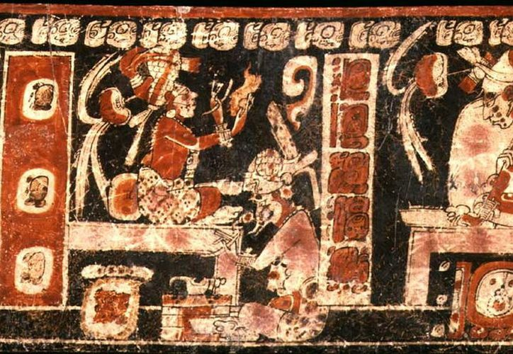 Jeroglífico maya en donde se representan a Hun Batz y Hun Chouen. (Jorge Moreno)