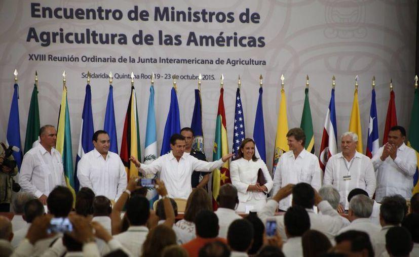 El presidente de México, Enrique Peña Nieto, inauguró ayer el Encuentro de Ministros de Agricultura de las Américas. (Israel Leal/SIPSE)