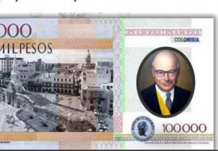 El nuevo billete de 100 mil pesos colombianos (equivalente a unos 33 dólares) tiene por un lado la imagen del ex presidente Carlos Lleras Restrepo (1966-1970). (Foto: www.mundonets.com)