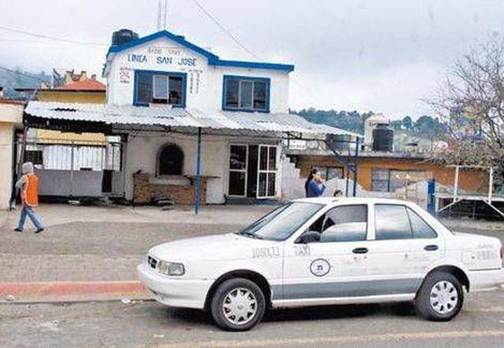 Esta es la base San José, donde trabajaban los tres taxistas de Tres Marías secuestrados este año, uno de ellos desde febrero. (Milenio)