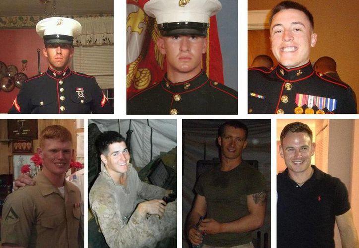 Fotografías cedidas por el Pentágono donde aparecen los siete infantes de Marina fallecidos el lunes durante maniobras con fuego real en Nevada, por la explosión de un mortero.  (EFE)
