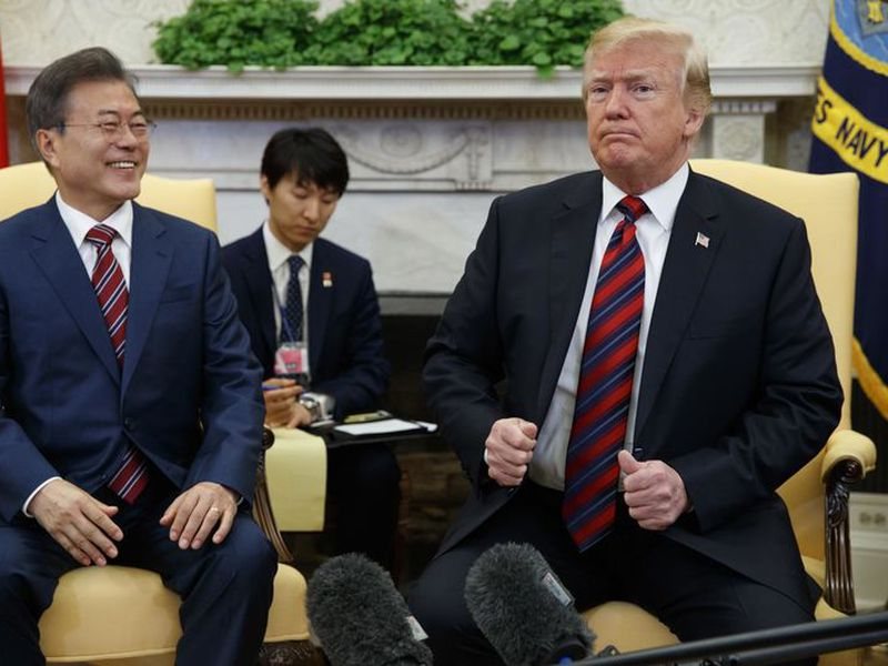 President Donald Trump meets with South Korean President Moon Jae-In.