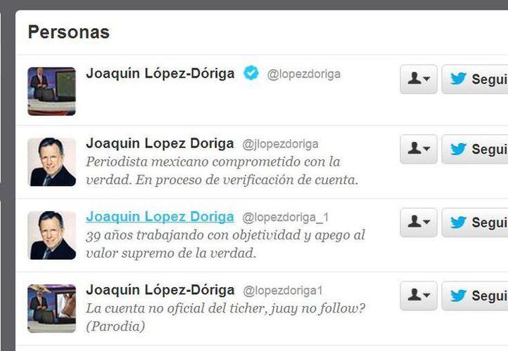 Hay decenas de cuentas a nombre de Joaquín López Dóriga, pero sólo una está verificada. (Captura de pantalla)