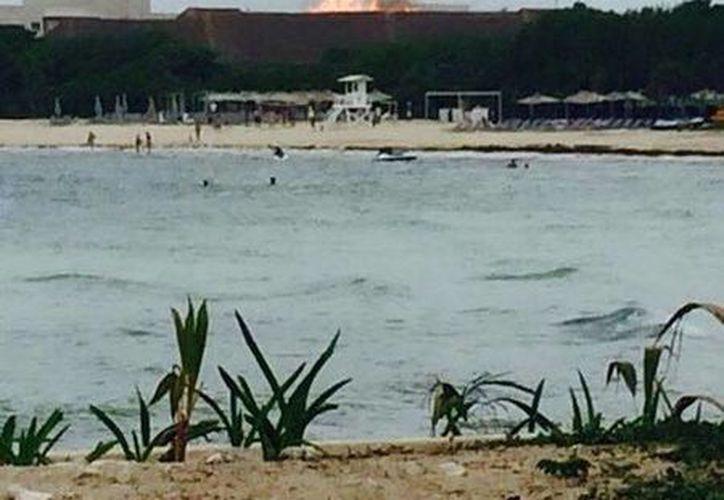 El incendio se registró en la palapa de la zona de albercas del Hotel Paradisus de Playa del Carmen. (Cortesía/Twitter)