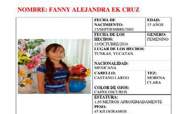 La FGE activó la Alerta Amber para localzar a la joven Fanny Alejandra Ku, quien se extravió hace unos días, en Tunkás, Yucatán. (Twitter/Codhey)