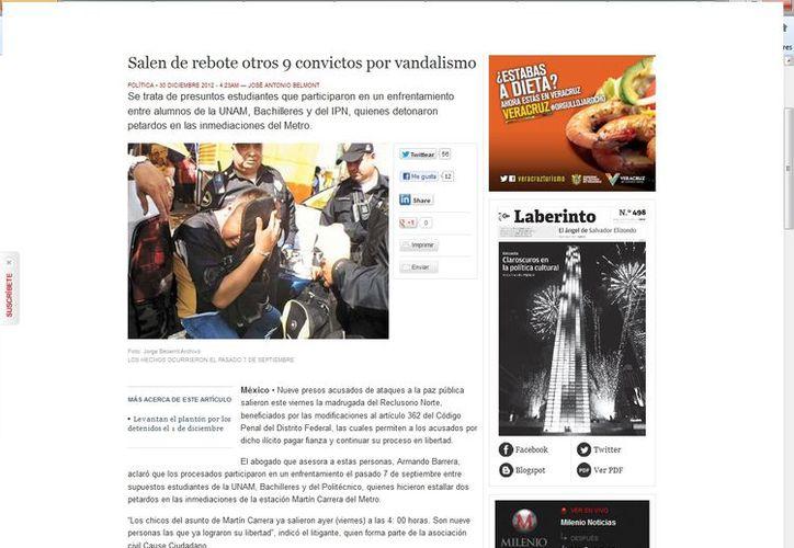 El mismo abogado del caso del metro también participa en la defensa de los 14 excarcelados por los disturbios del 1 de diciembre. (Captura de pantalla de Milenio)