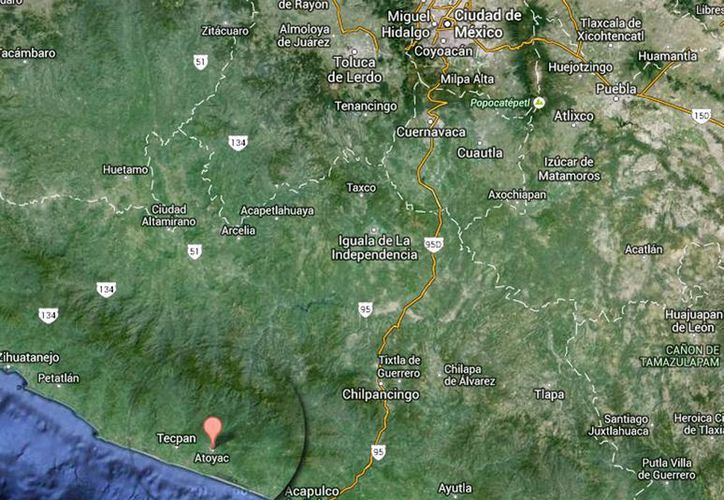 Debido a la crecida de los ríos, Bálsamo, El Paraíso, La Pintada y Pie de la Cuesta, Atoyac se encuentra incomunicado. (Google Maps)