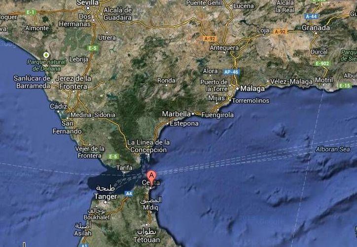 Al centro del mapa están las playas de Ceuta, España, donde fueron recuperados dos cadáveres de inmigrantes africanos. (Google Maps)