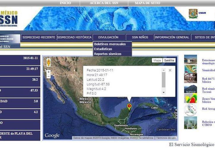 El portal web del Servicio Sismológico Nacional (SSN) confirmó el sismo. (Cortesía)