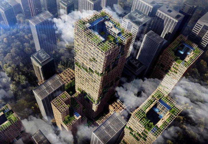 El interior del edificio, también de madera, tendrá 455 mil metros cuadrados. (El Mundo)