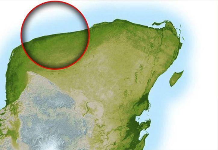 Imagen del mapa donde se marca la zona donde cayó el meteorito y se formó el cráter de Chicxulub. Será propuesto ante la Unesco como Patrimonio de la Humanidad. (Archivo/SIPSE)