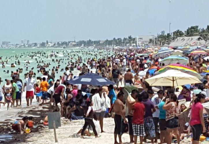 El Malecón de Progreso luce más que lleno en este domingo. (Gerardo Keb/SIPSE)