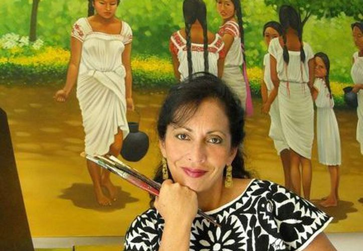 La pintora, Carol Acereto, trae sus obras a la isla de las golondrinas. (Cortesía/Facebook)