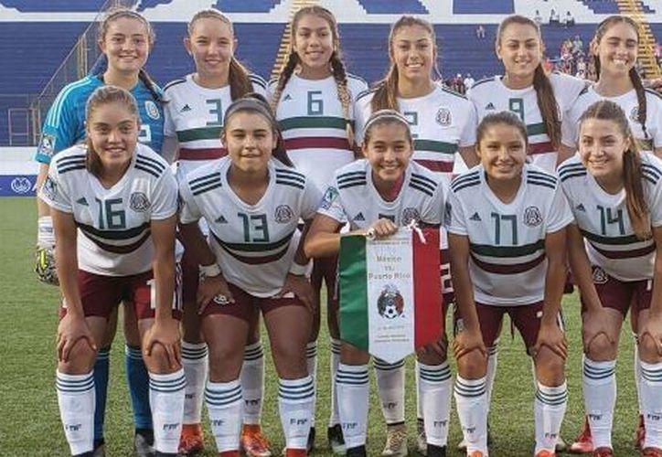 Selección Mexicana Femenil Sub 17 previo al partido ante Puerto Rico en el Premundial de Nicaragua. (Foto: ESPN)