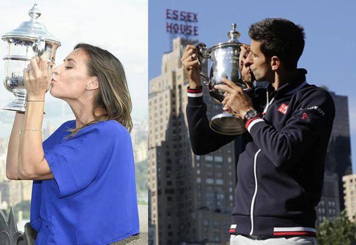 La italiana Flavia Pennetta y el serbio Novak Djokovic, ganadores del Abierto de Estados Unidos, terminarán en el octavo y primer sitio, respectivamente en las clasificaciones mundiales de tenis de la WTA y ATP (Fotografías de EFE y AP)