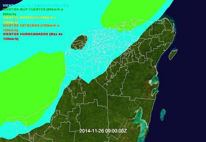 Pronóstico de vientos para Yucatán en las próximas horas, de acuerdo con la Conagua. (SIPSE)