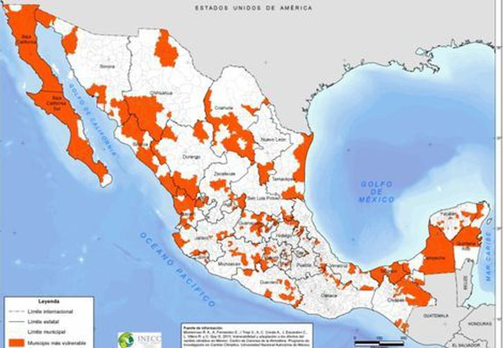 El Instituto Nacional de Ecología y Cambio Climático (INECC) publicó un estudio que muestra qué municipios son los más vulnerables al cambio climático. (Milenio.com)