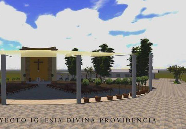 Así quedaría la iglesia de la Divina Providencia, que sería la primera edificación ecológica de su tipo.  (Julian Miranda/SIPSE)