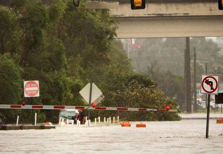 Una mujer no identificada es rescatada de su vehículo, que flota en aguas crecidas hasta la altura de la cintura, en la inundada calle President tras el paso del huracán Matthew en Savannah, Georgia. (AP Foto/Stephen B. Morton)