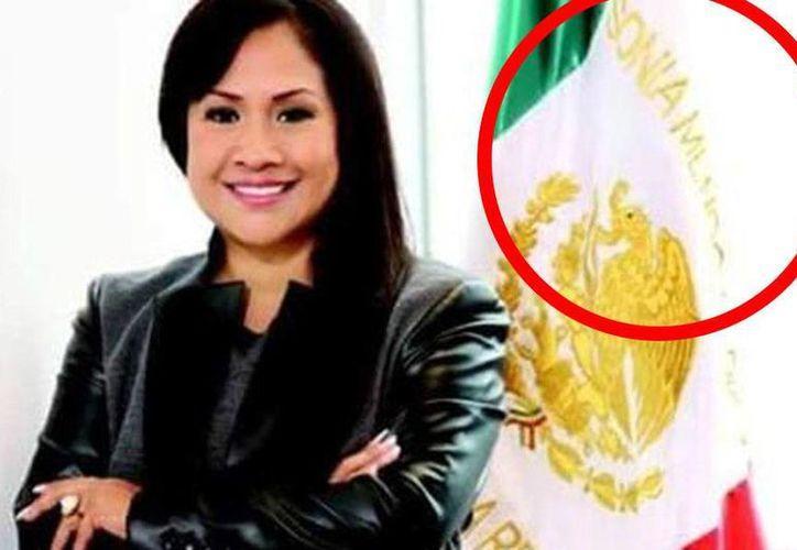La senadora potosina Sonia Mendoza Díaz asegura que la bandera de México que lleva su nombre fue un regalo. (vanguardia.com.mx)