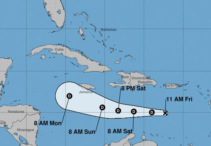 La trayectoria pronosticada de Isaac hasta el próximo lunes por la mañana. (Noaa)