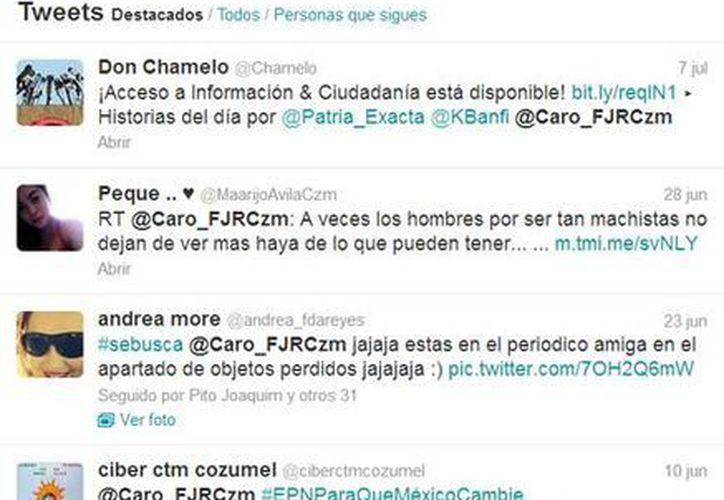 Gráficas de las cuentas de Twitter donde hacen mención a una de las consejeras. (Redacción/SIPSE)