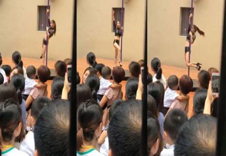 El video de la bailarina de tubo en el kinder rápidamente se hizo viral en las redes sociales. (Foto: Captura del video)